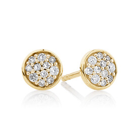 Pave Circle Stud Earrings with 0.14 Carat TW of Diamonds in 10ct Yellow Gold