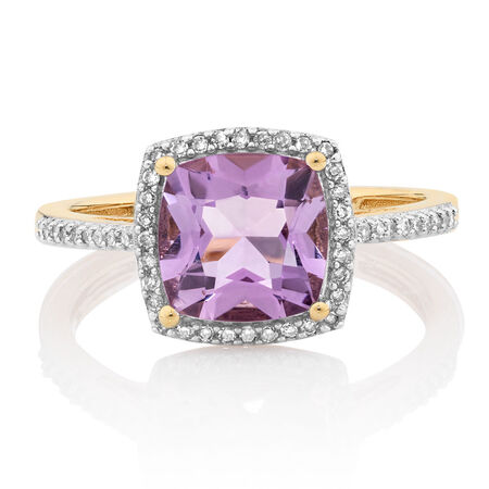 Ring with Amethyst & 0.15 Carat TW of Diamonds in 10ct Yellow Gold