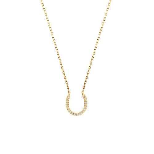 Horseshoe Pendant With Diamonds In 10ct Yellow Gold
