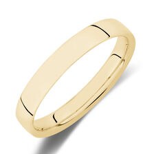 Reverse Bevelled Wedding Band in 10ct Yellow Gold