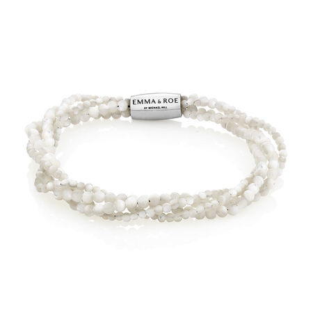 """19cm (7.5"""") Wild Hearts Bracelet in Mother of Pearl and Stainless Steel"""