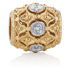 Diamond Set Patterned Charm in 10ct Yellow Gold