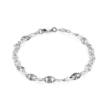 "19cm (7.5"") Patterned Bracelet in 10ct White Gold"