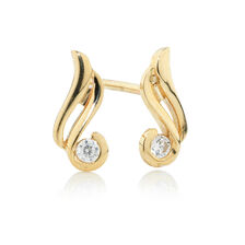 Online Exclusive - Swirl Earrings with Cubic Zirconia in 10ct Yellow Gold