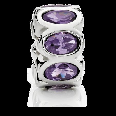 Purple Cubic Zirconia & Sterling Silver Charm