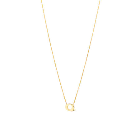 """Q"" Initial Necklace in 10ct Yellow Gold"