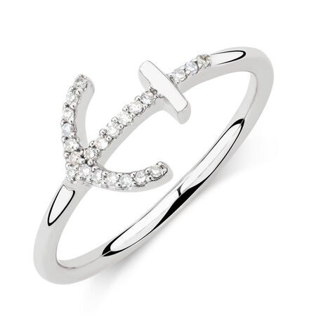 Anchor Ring with Diamonds in Sterling Silver