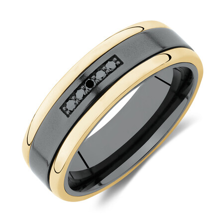 7mm Ring with Black Diamonds in Black Titanium & 10ct Yellow Gold