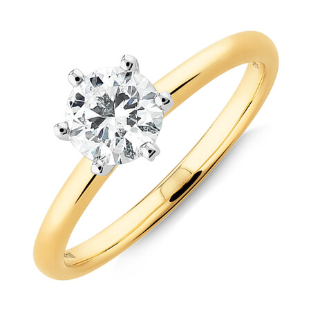 Michael Hill Solitaire Engagement Ring with a 0.70 Carat TW Diamond with the De Beers Code of Origin in 18kt Yellow & White Gold