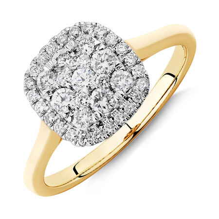 Square Cluster Halo Ring with 0.50ct TW of Diamonds in 10ct Yellow Gold