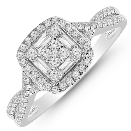 Twist Ring with 1/2 Carat TW of Diamonds in 10ct White Gold