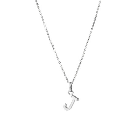 """""""J"""" Initial Pendant in Sterling Silver"""