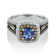 Ring with 0.75 Carat TW of White & Brown Diamonds & Tanzanite in 14ct White Gold