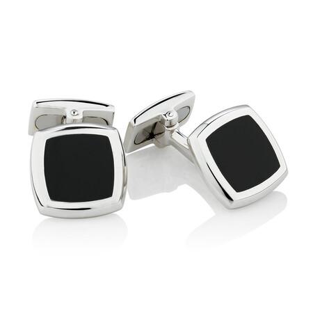 Square Black Agate Cufflinks in Sterling Silver