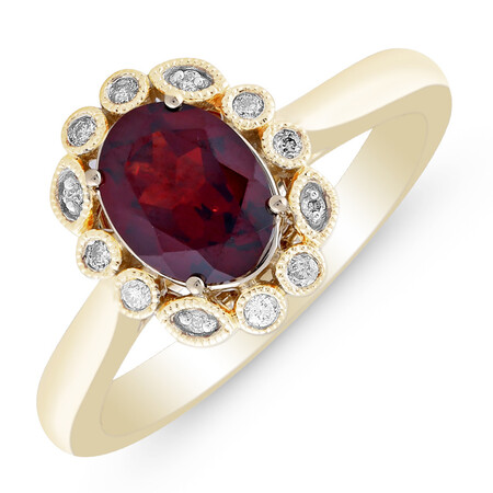 Ring with Created Garnet & Diamond in 10ct Yellow Gold