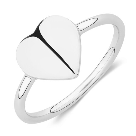 Heart Signet Ring in Sterling Silver