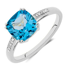 Online Exclusive - Ring with Blue Topaz & Diamonds in 10ct White Gold