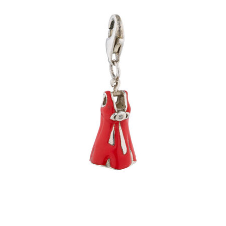 Online Exclusive - Dress Charm With Red Enamel & Cubic Zirconia In Sterling Silver