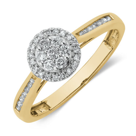 Engagement Ring with 0.25 Carat TW of Diamonds in 10ct Yellow & White Gold