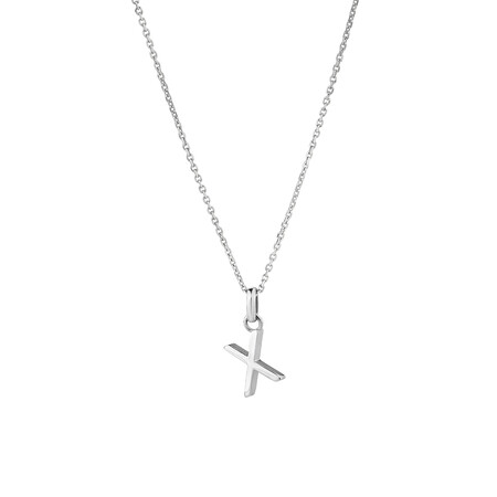 """""""X"""" Initial Pendant in Sterling Silver"""