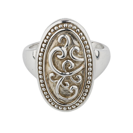Online Exclusive - Patterned Oval Ring In Sterling Silver