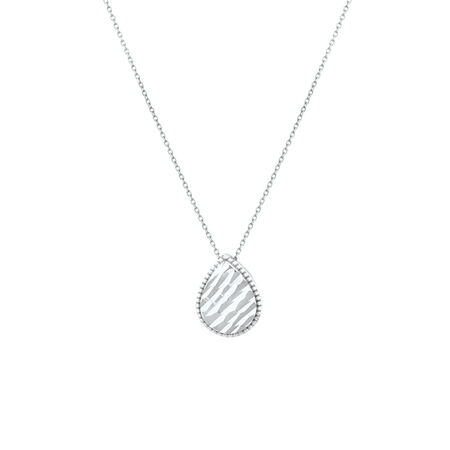 Patterned Pear Pendant in 10ct White Gold