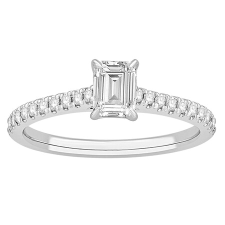 Ring with 0.78 Carat TW of Diamonds in 14ct White Gold