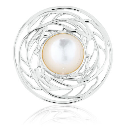 Coin Locket Insert with Mother of Pearl in Sterling Silver