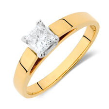 Solitaire Engagement Ring with a 0.45 Carat Diamond in 14ct Yellow & White Gold
