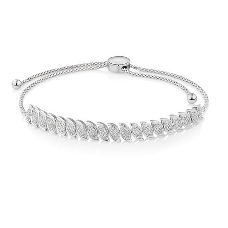 Adjustable Bracelet with 0.33 Carat TW of Diamonds in Sterling Silver