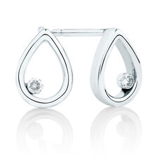Pear Stud Earrings With Diamonds In 10ct White Gold