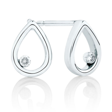 Pear Earrings with Diamonds in 10ct White Gold