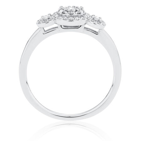 Engagement Ring with 0.29 Carat TW of Diamonds in 10ct White Gold
