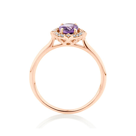 Halo Ring with 0.07 Carat TW of Diamonds and Amethyst in 10ct Rose Gold
