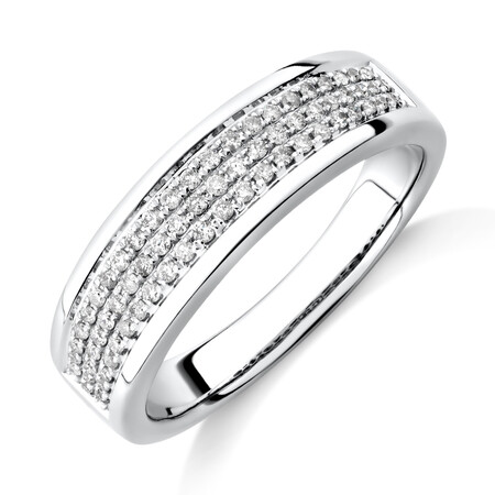 Men's Pave Ring with 0.33 Carat TW of Diamonds in 10ct White Gold