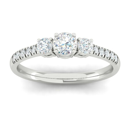 Three Stone Ring with 0.65 Carat TW of Diamonds in 10ct White Gold