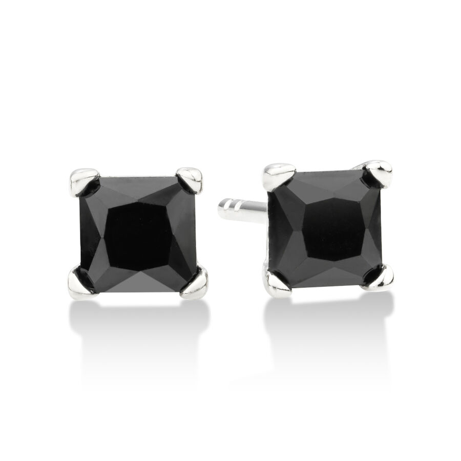 Square Stud Earrings with Black Cubic Zirconia in Sterling SIlver
