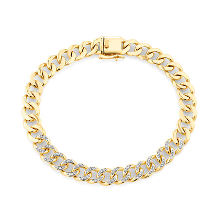 Cuban Link Bracelet with 0.33 Carat TW of Diamonds in 10ct Yellow Gold