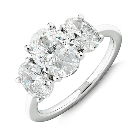 Sir Michael Hill Designer Three Stone Engagement Ring with 3.44 Carat TW of Diamonds in 18ct White Gold