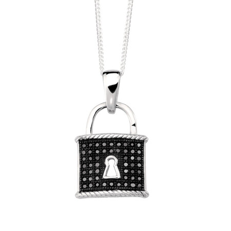 Online Exclusive - Padlock Pendant with Enhanced Black Diamonds in Sterling Silver