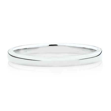 High Domed Wedding Band in 14ct White Gold