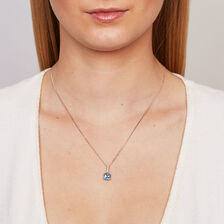 Online Exclusive - Pendant with Blue Topaz & Diamond in 10ct White Gold