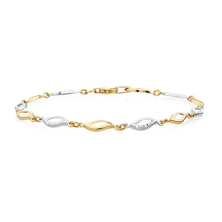 "19cm (7.5"") Bracelet in 10ct Yellow & White Gold"