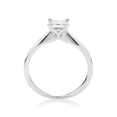 Certified Solitaire Engagement Ring with 0.70 Carat TW Diamond in 18ct White Gold