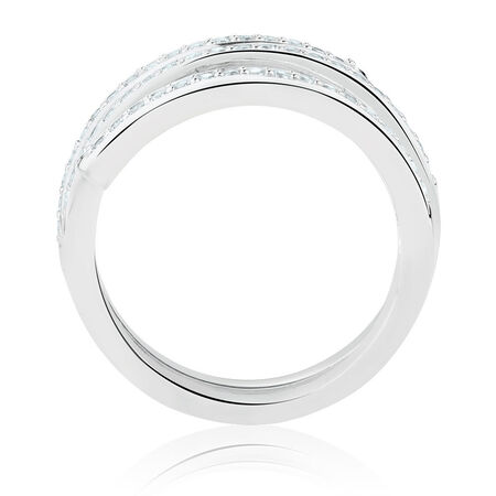 Spiral Ring with Cubic Zirconia in Sterling Silver