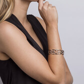Infinitas Cuff with Diamonds in 10ct Rose Gold & Sterling Silver