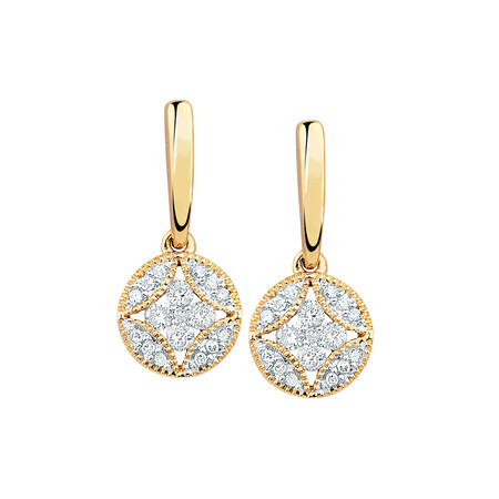 Drop Earrings with 1/4 Carat TW of Diamonds in 10ct Yellow Gold