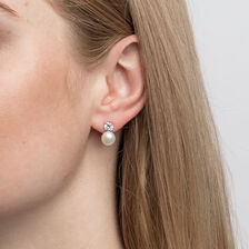 Stud Earrings with Cubic Zirconia & Cultured Freshwater Pearls in Sterling Silver