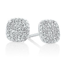 Stud Earrings with 0.26 Carat TW of Round Brilliant Diamonds in Sterling Silver