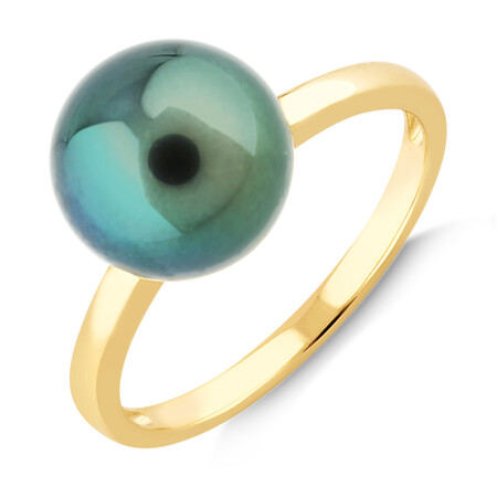 9mm Cultured Tahitian Pearl Ring In 10ct Yellow Gold